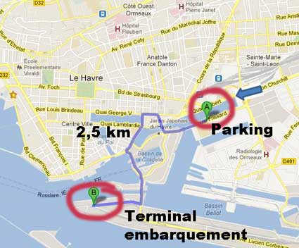 Distance terminal/parking= 2,5 km