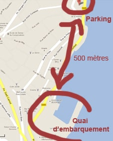 Distance entre le parking et l'embarcadère: 500 mètres