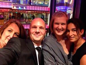 4 agents Azur Croisières ont visité le navire, de gauche à droite: Nathalie, Thibaud, Aude, Emmanuelle
