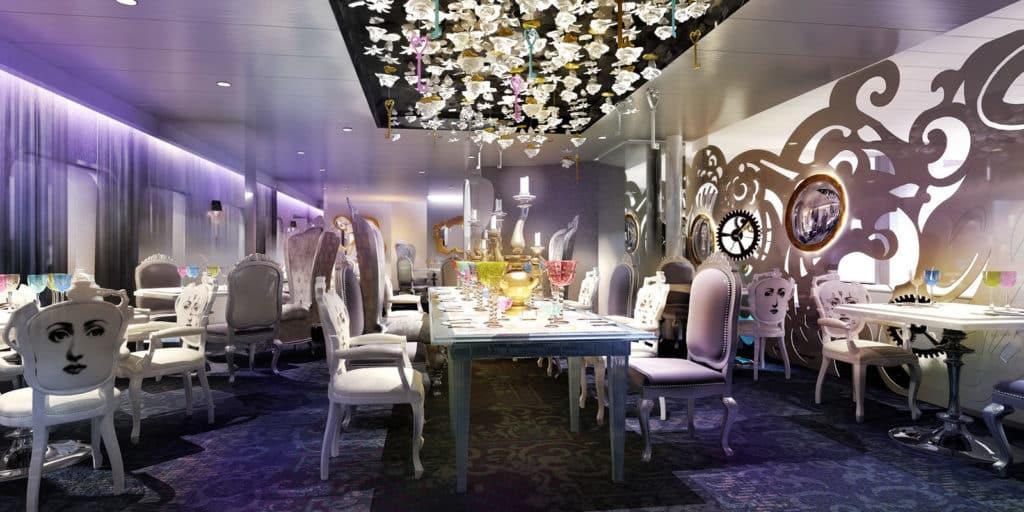 Exemple du restaurant Wonderland, présent sur l'Oasis of the Seas