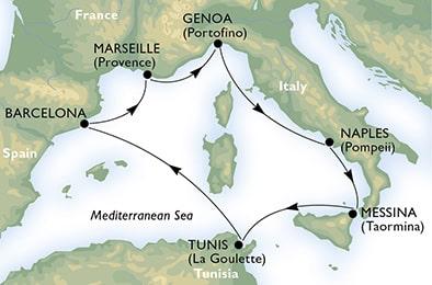 Itinéraire réalisé par le MSC Meraviglia