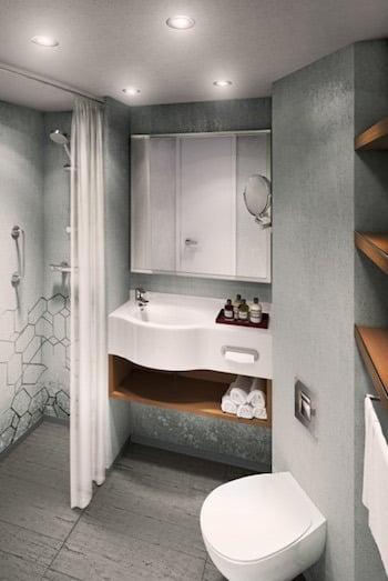 """Nouvelle salle de bains des """"autres"""" cabines © Azamara Club Cruises"""