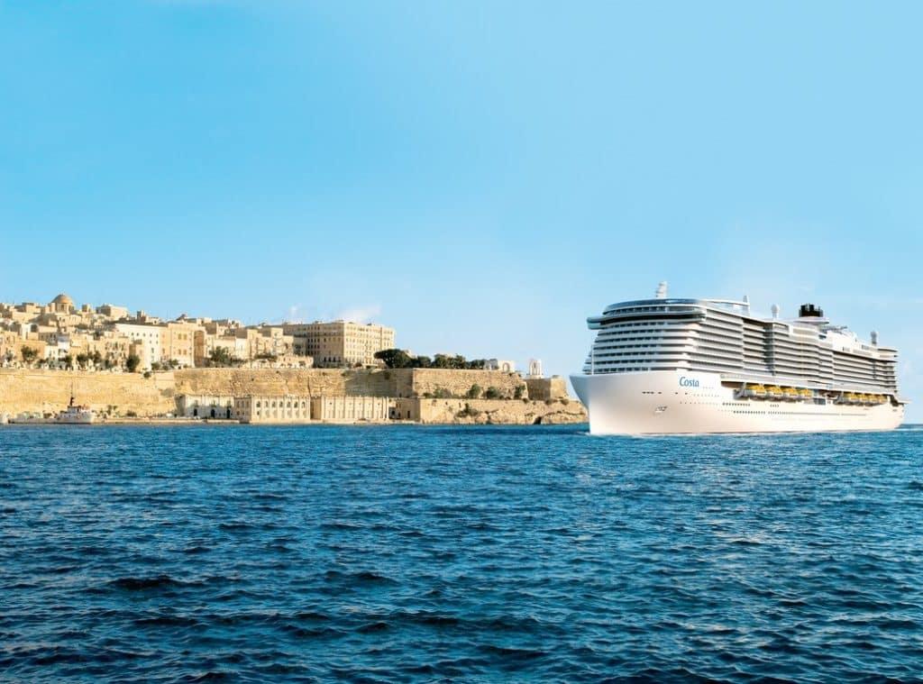Illustration du futur navire Costa arrivant à La Valette