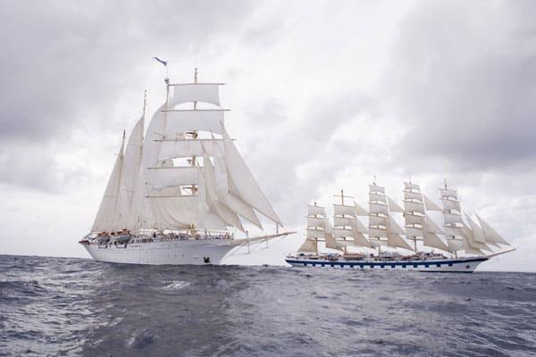 Les navires Star Clipper et Royal Clipper croisant ensemble