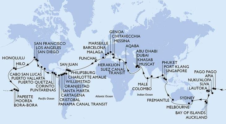 La carte de votre tour du monde maritime