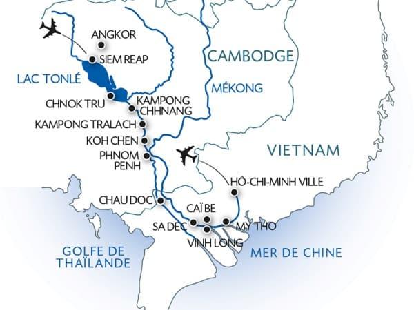 Itinéraire de votre croisière sur le Mékong