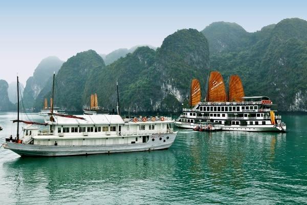 Jonques amarrées dans la baie d'Halong