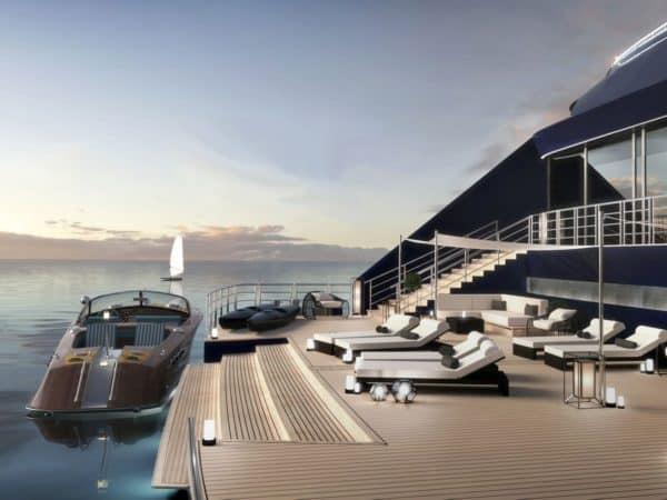 Future marina à la poupe du navire